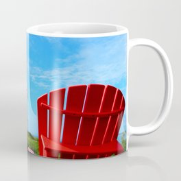 Lighthouse and chairs in Red White and Blue Coffee Mug