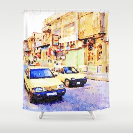 Aleppo: Taxi through the streets of Aleppo Shower Curtain