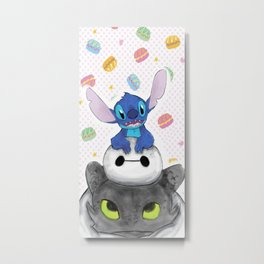 Baby Toothless Dragon and Stitch Metal Print