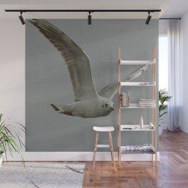 Seagull In Flight Against Gray Sky Vector Wall Mural