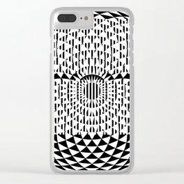 Black White Geometricals With Mandala Clear iPhone Case