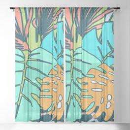 Tropical leaves blue Sheer Curtain