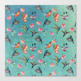 Vintage Watercolor hummingbirds and fuchsia flowers Canvas Print