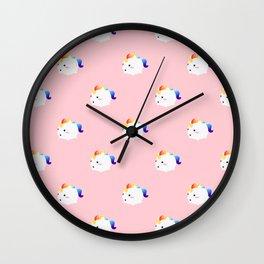 Kawaii rainbow fattycorn pattern Wall Clock