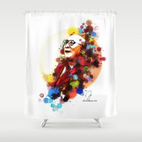 lama Shower Curtains featuring Dalai Lama by Rene Alberto