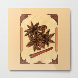 Art nouveau. Cinnamon and anise. Metal Print