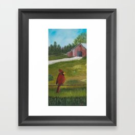 Kevin the cardinal loves to sing his heart out on the farm Framed Art Print