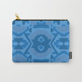 Geometric Aztec in Cobalt Carry-All Pouch