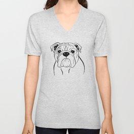 English Bulldog (Black and White) Unisex V-Neck