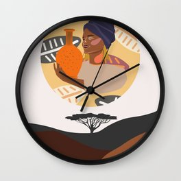Set of abstract vertical illustrations with african woman in turban, ceramic vase and jugs, plants. Wall Clock