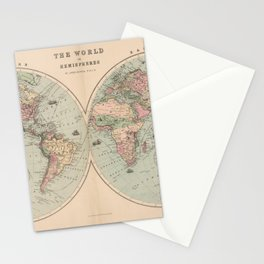 Vintage Map of The World (1873) Stationery Cards
