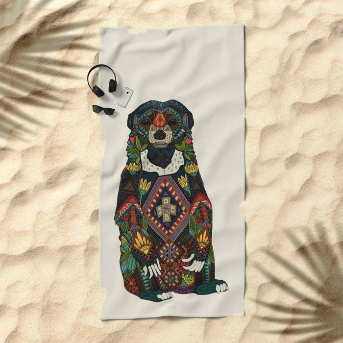 sun bear almond Beach Towel