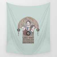 dean winchester Wall Tapestries featuring Carry On My Wayward Son (Castiel, Sam and Dean Winchester) by KARADIN