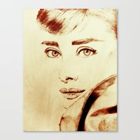 audrey hepburn Canvas Prints featuring Audrey Hepburn by Farinaz K.