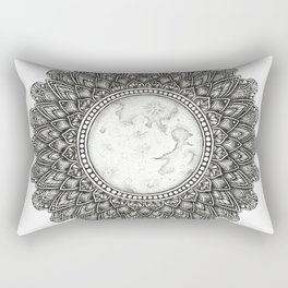 Black and White Moon Mandala Rectangular Pillow