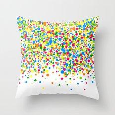 Rain of colorful confetti Throw Pillow