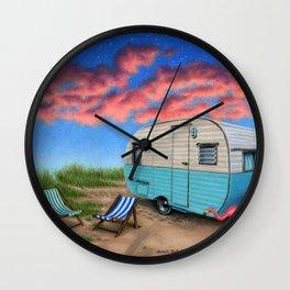 The Happy Camper At Night Wall Clock
