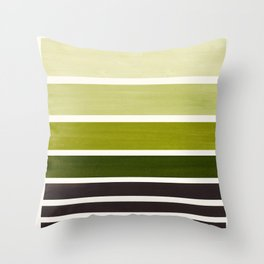 Olive Green Minimalist Watercolor Mid Century Staggered Stripes Rothko Color Block Geometric Art Throw Pillow