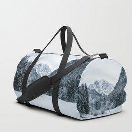 Mountains snow and fog Duffle Bag