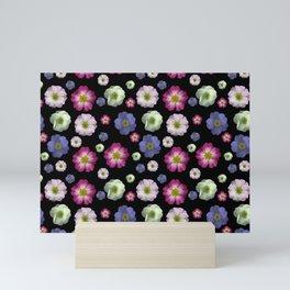Moody Primrose Flower Heads on a Black Background Mini Art Print