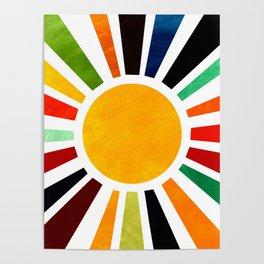 Sun Retro Art Poster