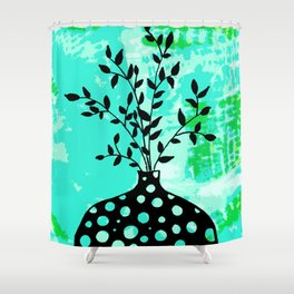 Plant in vase with dots Shower Curtain