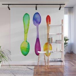 Three Watercolor Spoons! Wall Mural