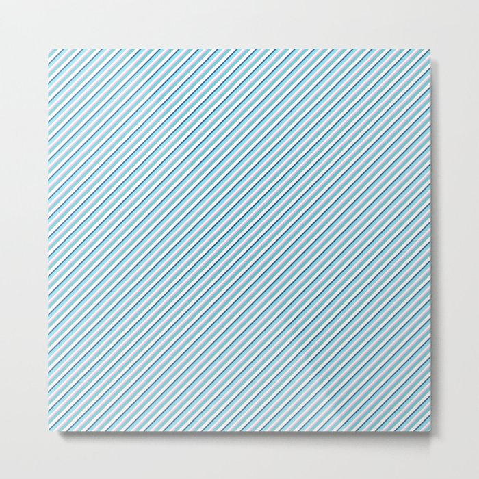 Sky Blue Strong Inclined Stripes Metal Print