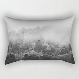 Landscape Photography | Forest Fog | Black and White Art | Minimalism Rectangular Pillow
