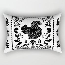 Woodland Folk Black And White Squirrel Tile Rectangular Pillow