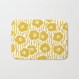 Mid Century Modern Wild Flowers Pattern Mustard Yellow Bath Mat