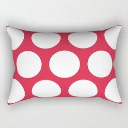 Large Polka Dots: Red Rectangular Pillow