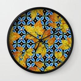 Autumn Leaves Heraldic Wall Clock