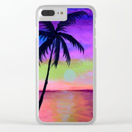 sunset with palm tree Clear iPhone Case