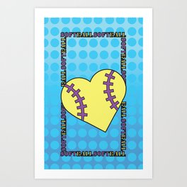 I Love Softball by Ashley Fraiberg Art Print