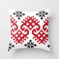 folk Throw Pillows featuring folk by muminn