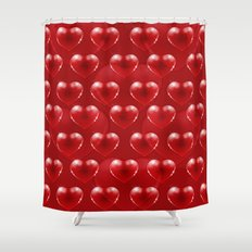 Red glass heart Shower Curtain