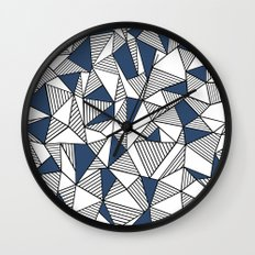 Abstraction Lines with Navy Blocks Wall Clock