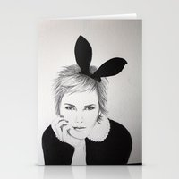 emma watson Stationery Cards featuring 'Emma Watson' Bunny Ears Illustration by Dee Andrews