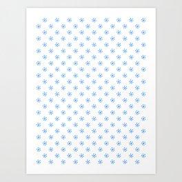 Brandeis Blue on White Snowflakes Art Print