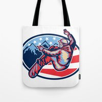 snowboard Tote Bags featuring American Snowboarder Jumping Snowboard Retro by patrimonio