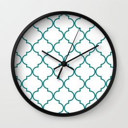 Quatrefoil - Teal on White - larger Wall Clock