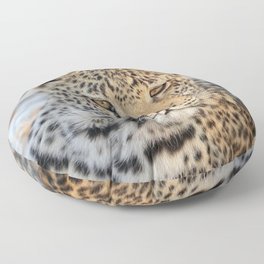 Female leopard in Namibia, Africa Floor Pillow