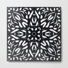 White Flames - Fiery Mandala Flower - Geometric Symmetry Art Metal Print