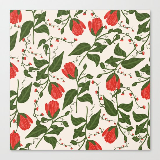 Red Bright Floral Pattern Canvas Print