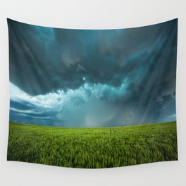 April Showers - Colorful Stormy Sky Over Lush Field in Kansas Wall Tapestry