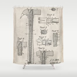 Hammer Patent - Handyman Art - Antique Shower Curtain