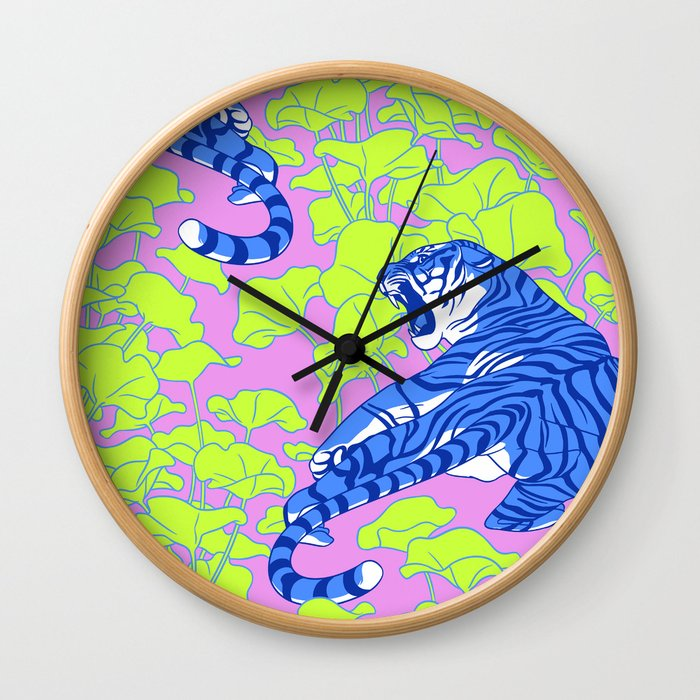 Neon Tigers and Water Lillies. Wall Clock
