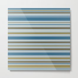 Stripey Design Gold Cream Brown Blues Metal Print