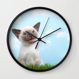 Siamese kitten singing Wall Clock